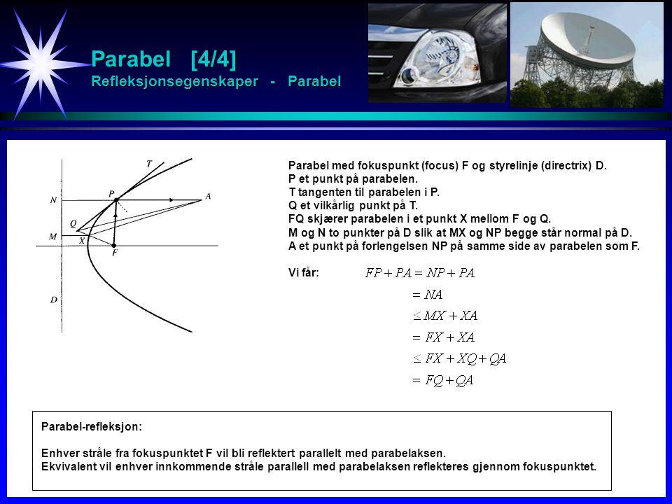 Parabel [4/4] Refleksjonsegenskaper - Parabel
